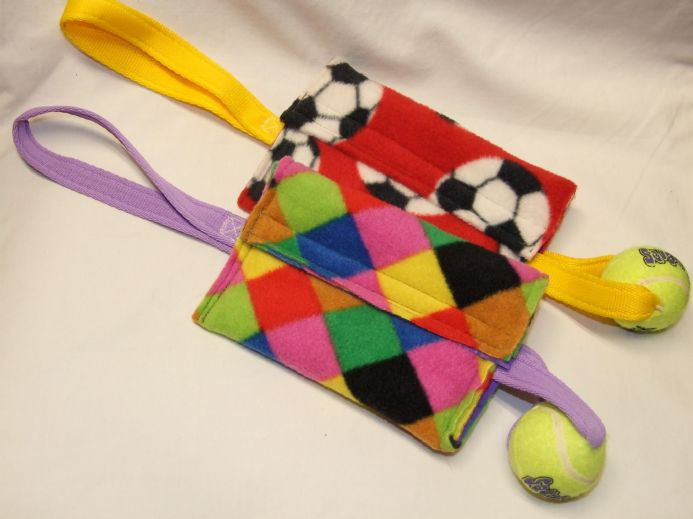 FLEECE TREAT BAG with  small  ball Made By Jewlnick Leather